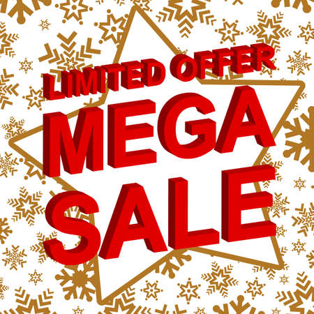 mega sale: Winter sale poster with LIMITED OFFER MEGA SALE text. Advertising banner template