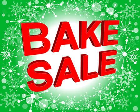 Sale-Poster mit Bake Sale Text. Werbung rote Vektor-Banner-Vorlage