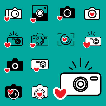 digicam: Digital Camera and Heart Icons Isolated. Snapshot Photography Sign . Instant Photo Concept