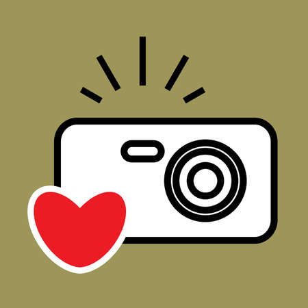 Digital Camera and Heart Vector Icon. Snapshot Photography Sign . Instant Photo Concept