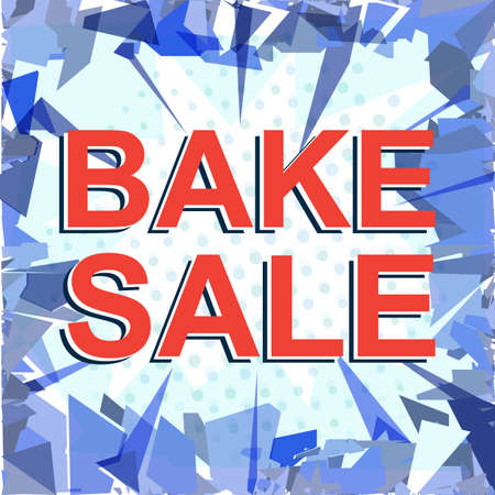bake sale sign: Sale poster with BAKE SALE text. Advertising red vector banner template