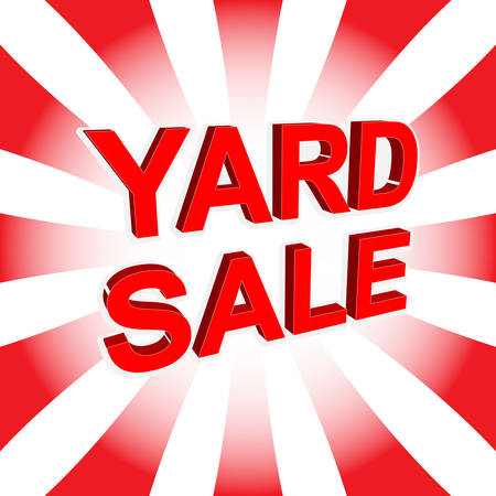 yard sale: Red sale poster with YARD SALE text. Bright advertising banner template