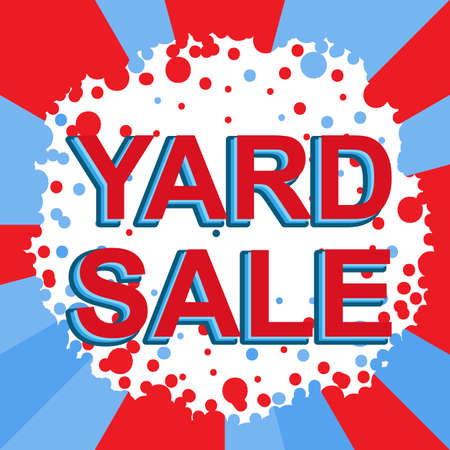 yard sale: Red and blue sale poster with YARD SALE text. Bright advertising banner template Illustration