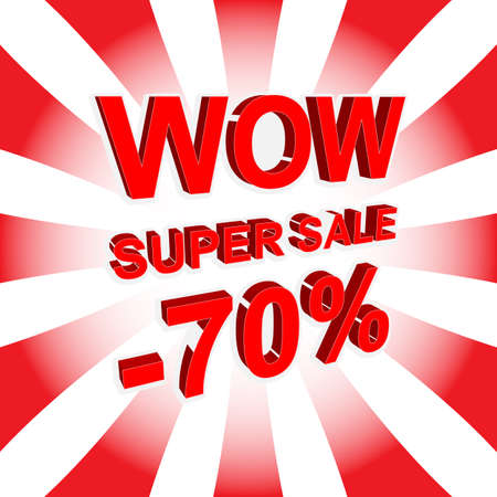 seventy: Red sale poster with WOW SUPER SALE MINUS 70 PERCENT text. Bright advertising banner template Illustration
