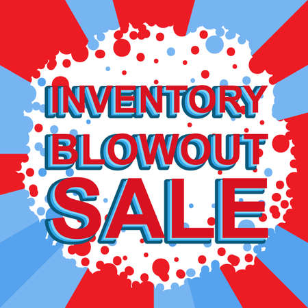 Red and blue sale poster with INVENTORY BLOWOUT SALE text. Bright advertising banner template