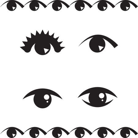 Collection of Simple Eye Icon Or Logo Isolated