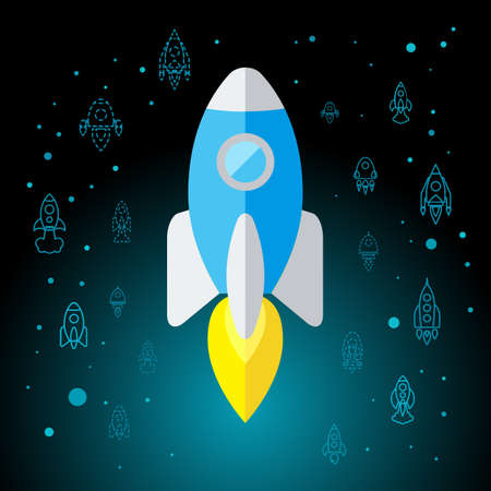 Rocket In Space Flat Icon Isolated. Startup Vector Symbol Illustration