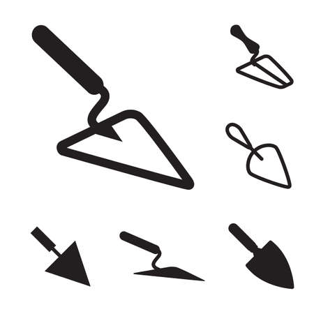 Garden or Cement Vector Trowel Icon Set Isolated on White Background