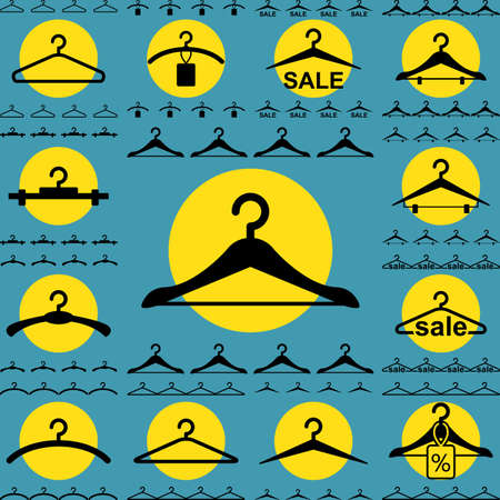 clothing rack: Set of Clothes Hanger Icons for Fashion or Sale Design Isolated