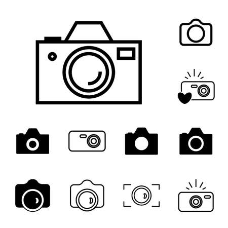 digicam: Digital Camera Icons Isolated. Snapshot Photography Sign or Logo. Instant Photo Concept