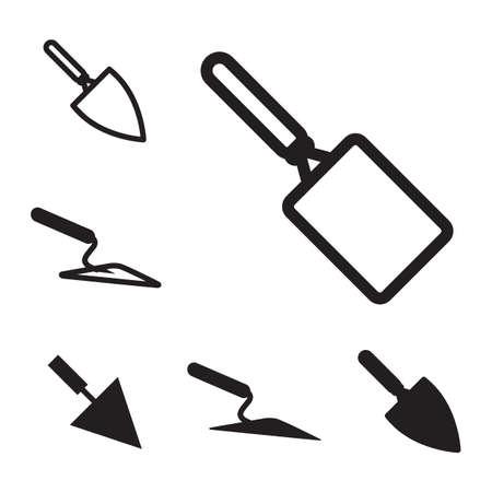 Garten oder Zement Vektor Trowel Icon Set isoliert auf weißem Hintergrund