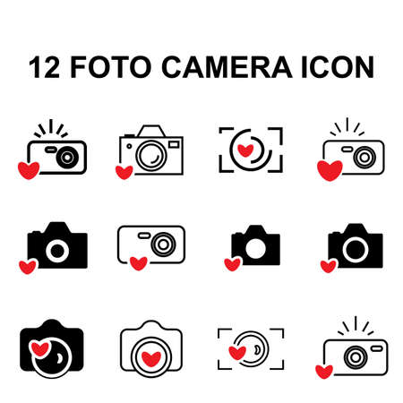 digicam: Digital Camera and Heart Icons Isolated. Snapshot Photography Sign or Logo. Instant Photo Concept Illustration
