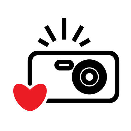 Digital Camera and Heart Vector Icon. Snapshot Photography Sign or Logo. Instant Photo Concept Illustration