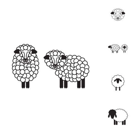 Sheep or Ram Icon, Logo, Template, Pictogram.