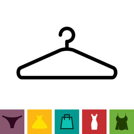 clothing rack: Simple Black Clothes Hanger Icon for Fashion or Sale Design Isolated