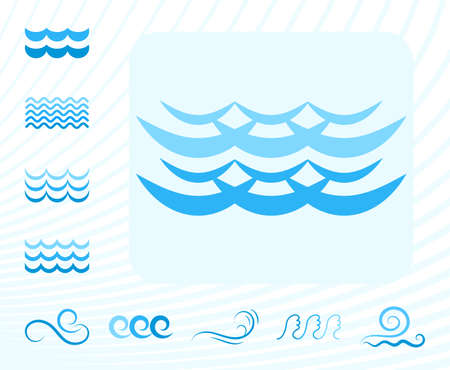 oceanic: Blue Sea Wave Icons or Water Liquid Symbols Isolated on White. Illustration
