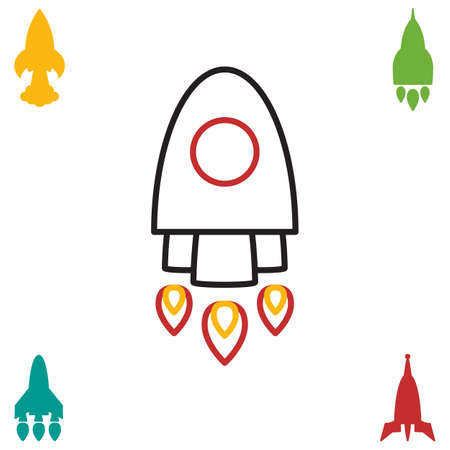 Space Rocket Icon Isolated. Startup Vector Symbol