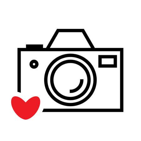 Digital Camera and Heart Vector Icon. Snapshot Photography Sign or Logo.