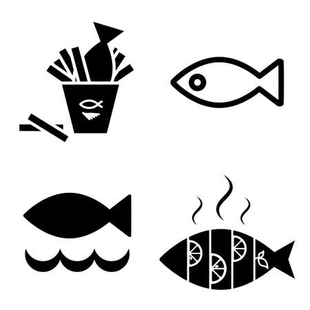 dead fish: Set of Fish Vector Icon Isolated. Fishing or Seafood Template for Logo Design