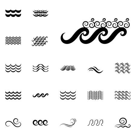 oceanic: Wave Icons or Water Liquid Symbols Isolated on White.
