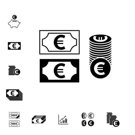 Euro Vector Icon or Pictogram Isolated. Cash Symbol Çizim