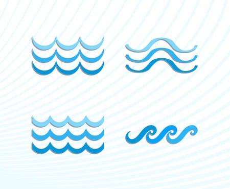 oceanic: Blue Sea Wave Icons or Water Liquid Symbols Isolated on White. River or Oceanic Flowing Sign, Bending Lines Illustration