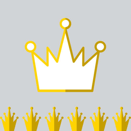 Crown Icon in Flat Style Isolated On Gray Background