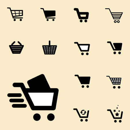 simple store: Collection of Shopping Cart Icon Set Isolated on light Coloured Background Illustration