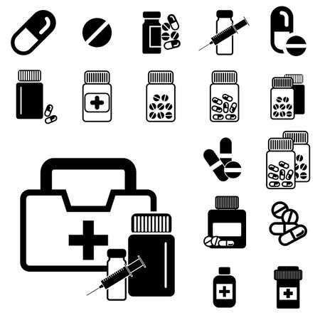 heartache: Set of Different Pill or Drug Jars Icons Isolated on White Background. Illustration