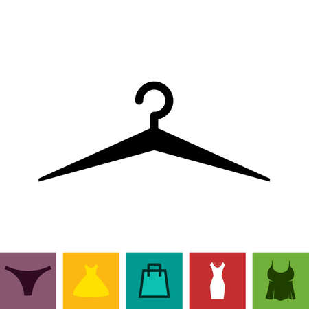 Simple Black Clothes Hanger Icon for Fashion or Sale Design Isolated