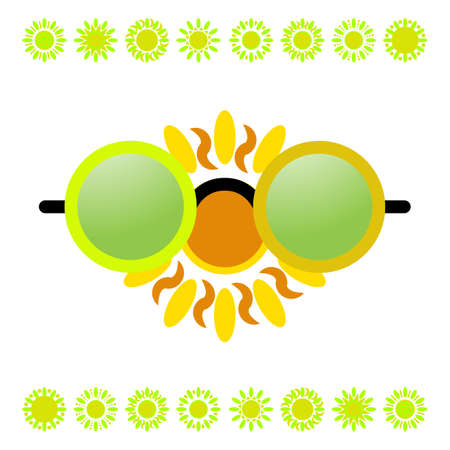 Vector Glasses and Sun on White Background. Hot Summer Symbol