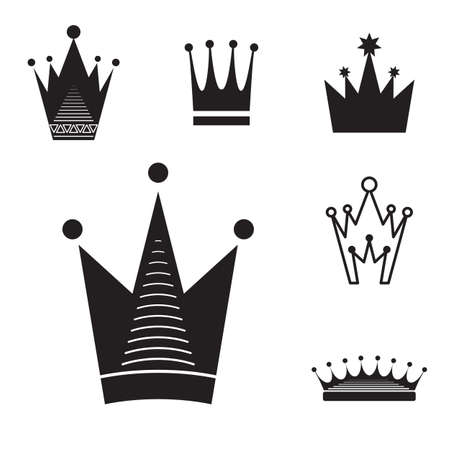 Simple Black Crown Icon Set Isolated On White Background