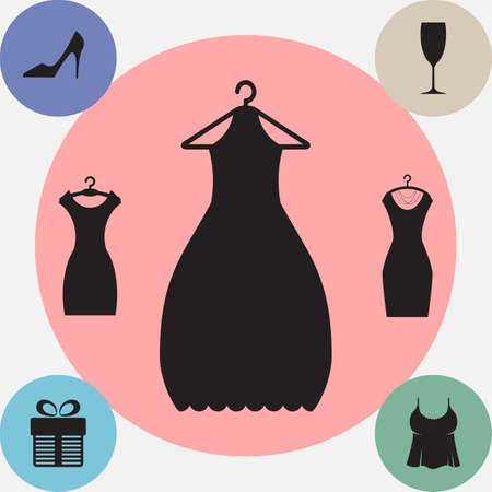 Party Fashion Dress Icon or Silhouette with Clothes Hanger Isolated. Modern Flat Simple Style Illustration