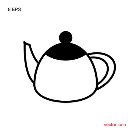 Teapot Kettle Trendy Icon Isolated on White Background. Vector illustration