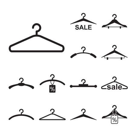 simple noir vêtements de suspension icône pour la conception de mode ou de vente isolé Vecteurs
