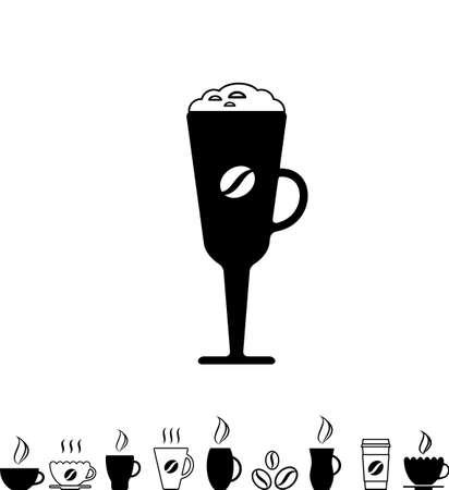 Black Coffee Cup Icon Isolated on White Background Illustration