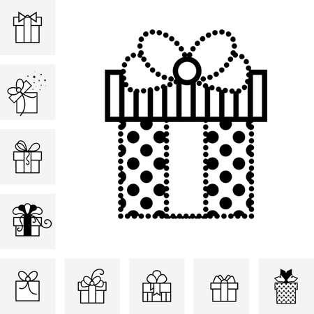 ensemble de coffrets cadeaux avec un arc ou présente vecteur icône . félicitations et symboles de cartes de félicitations