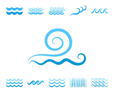 Blue Sea Wave Icons or Water Liquid Symbols Isolated on White. River or Oceanic Flowing Sign, Bending Lines Illustration