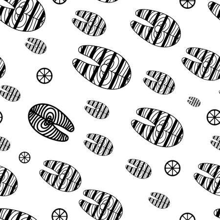 Salmon fish steak or fillet seamless pattern or background Vektorové ilustrace