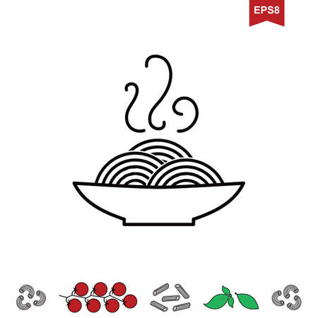 Italian Pasta Vector Icon or logo Isolated on White. Stylized Spaghetti or Noodle Template for Internet, Design, Decoration