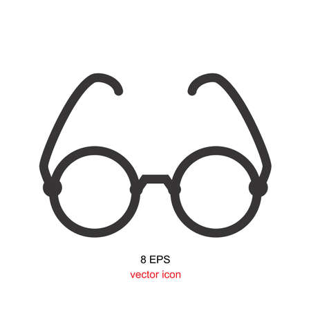 Vector Black Glasses Icon Isolated on White Background