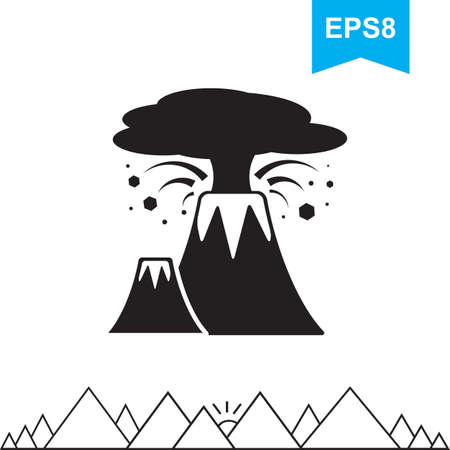 etna: Volcano Vector Icon Isolated. Simple Logo or Sign of Mountain for Web Design Illustration