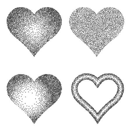 Halftone Pattern or Texture Collection. Set of Stipple Dot Backgrounds with Hearts. Vector Illustration