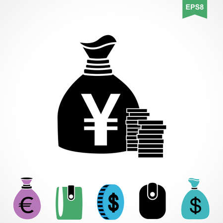 Money Yen Icon or Flat Sign. National Japan Currency Vector Symbol Isolated
