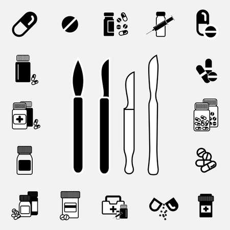 sterilized: Simple black illustration of scalpel icon isolated