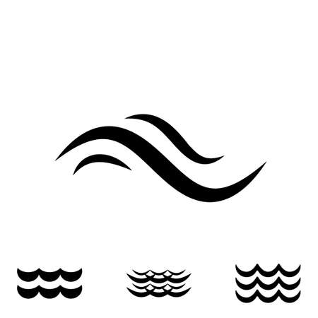 oceanic: Wave Icons or Water Liquid Symbols Isolated on White. Sea, River or Oceanic Flowing Sign, Bending Lines