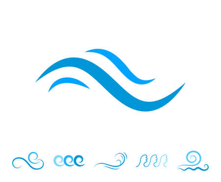 Blue Sea Wave Icons or Water Liquid Symbols Isolated on White. River or Oceanic Flowing Sign, Bending Lines Vectores