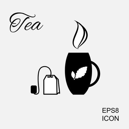 pause icon: Cup of Hot Tea Vector Icon and Tea Bag Pictogram