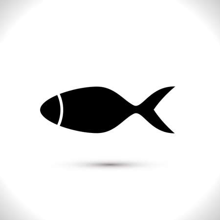 Fish Vector Icon Isolated. Black Seafood Logo. Simple Aquatic Animal Silhouette. Fishing Symbol or Black and White Pictogram