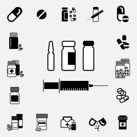 ampoule: Syringe and medical ampoule simple black Icon or Illustration Isolated